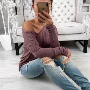 Oversized Dolman Sweater ekAttire Medium Mauve